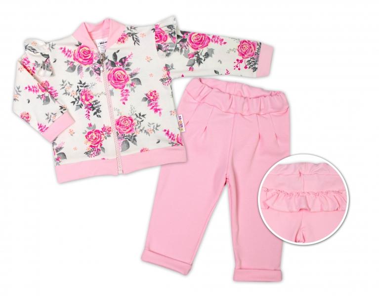 BABY NELLYS Detská tepláková súprava s volánikom New Roses - ružová, smotanová, veľ. 74-#Velikost koj. oblečení;74 (6-9m)
