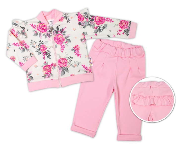 BABY NELLYS Detská tepláková súprava s volánikom New Roses - ružová, smotanová, veľ. 80-#Velikost koj. oblečení;80 (9-12m)