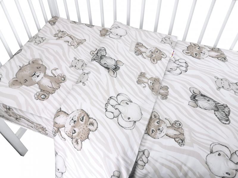 Baby Nellys 2-dielne bavlnené obliečky, ZOO - béžová