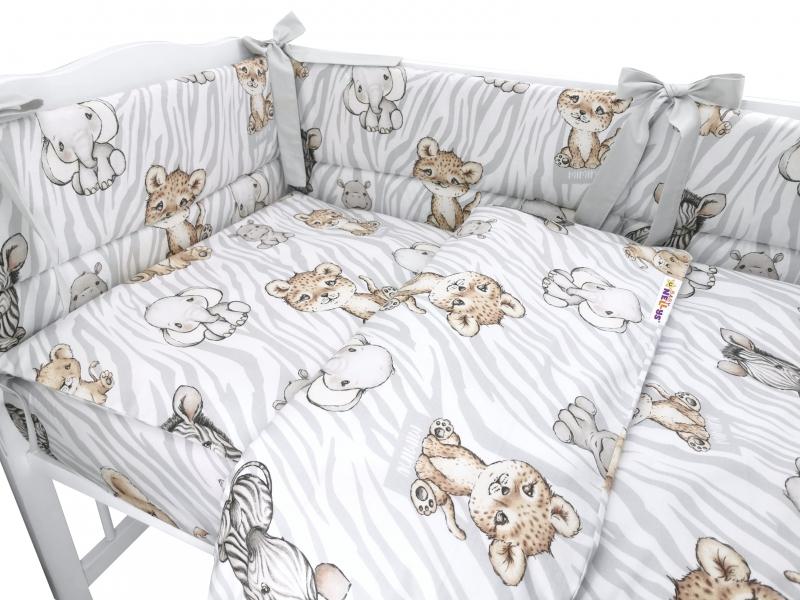 BABY NELLYS 3-dielna sada mantinel s obliečkami, ZOO Natural, hnedá, šedá, 135x100 cm