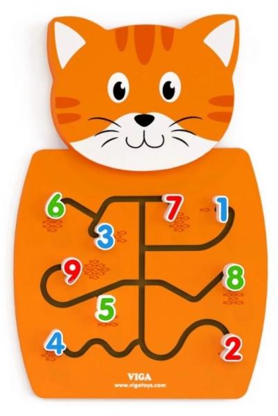 Viga Drevená nástenná hra s čísly - Kocúrik