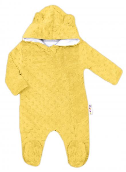 Baby Nellys Kombinézka /overal Minky s kapucňou a uškami -žltá, vel. 80
