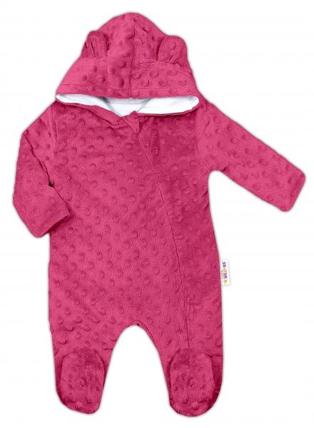 Baby Nellys Kombinézka /overal Minky s kapucňou a uškami - sytě ružová, veľ. 80
