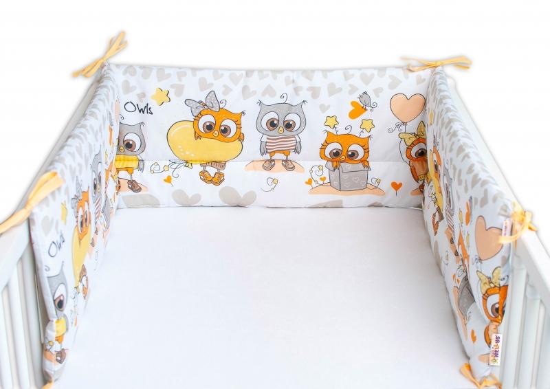 Baby Nellys Mantinel do postieľky 180x30 cm, Cute Owls - béžový