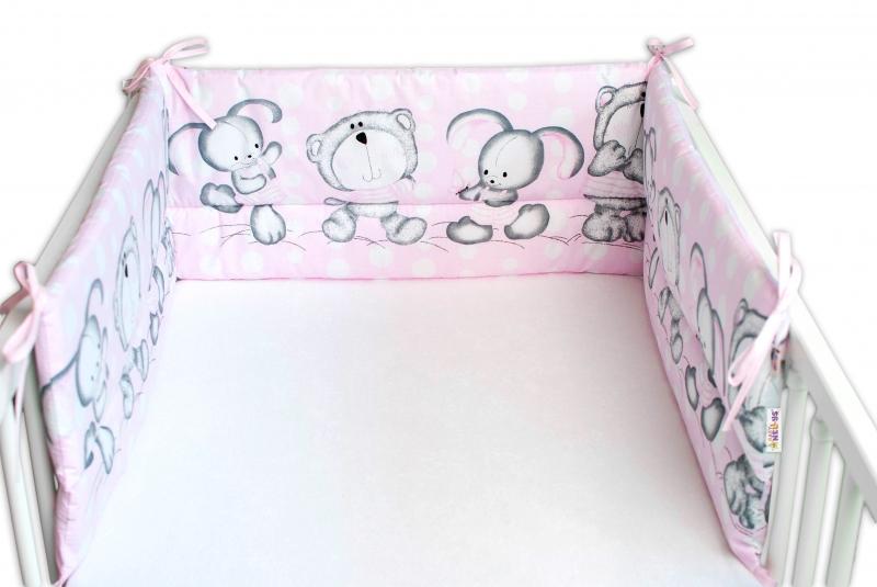 Baby Nellys Mantinel do postieľky 180x30 cm, Medvedík s zajačikov Bubble - ružový