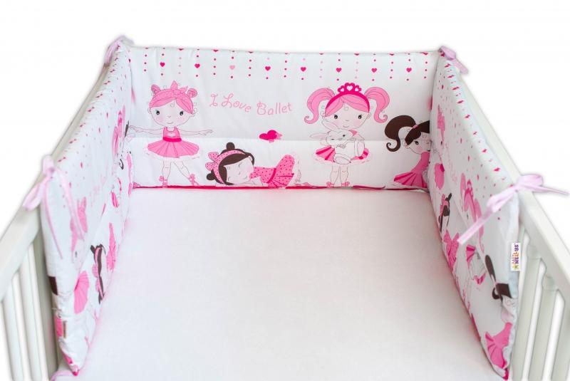 Baby Nellys Mantinel do postieľky 180x30 cm, Princess - ružový