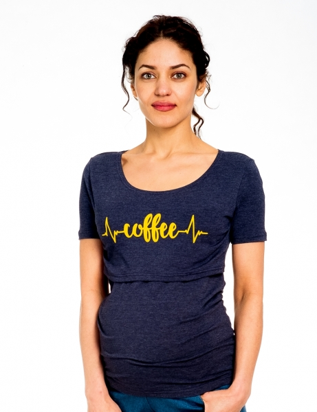 Be MaaMaa Tehotenské/dojčiace triko kr. rukáv, Coffee - jeans, veľ. S