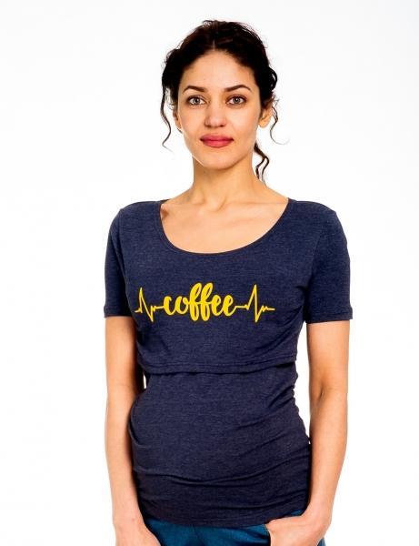 Be MaaMaa Tehotenské/dojčiace triko kr. rukáv, Coffee - jeans, veľ. M