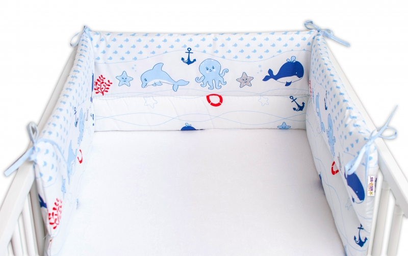 Baby Nellys Mantinel do postieľky 180x30 cm, Oceán Baby - modrý