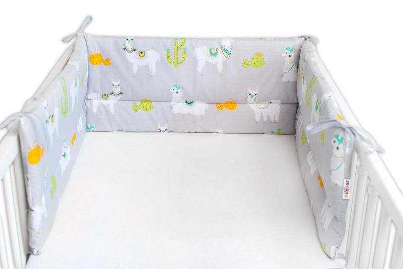 Baby Nellys Mantinel do postieľky 180x30 cm, Lama - sivá