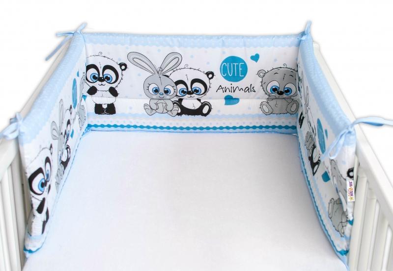 Baby Nellys Mantinel do postieľky 180x30 cm, Cute Animals - modrý