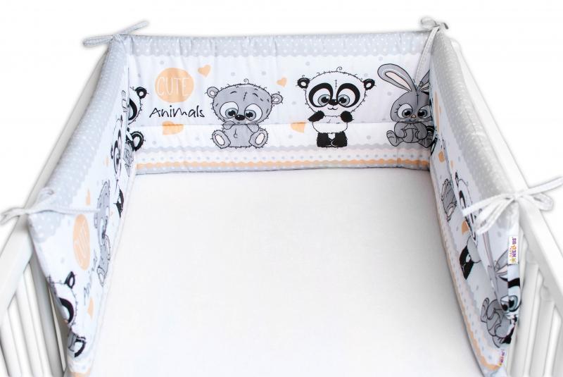 Baby Nellys Mantinel do postieľky 180x30 cm, Cute Animals - sivý