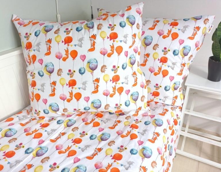 Baby Nellys Bavlněné obliečky 140 x 200, 70 x 80 - Liška a balóniky, biela