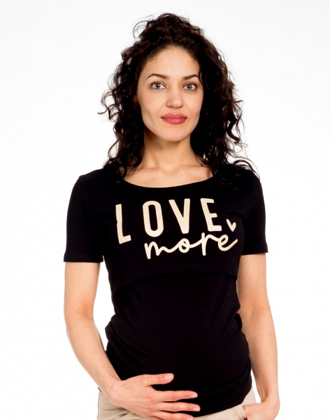 Be MaaMaa Tehotenské/dojčiace triko kr. rukáv, LOVE MORE - čierne, veľ. L