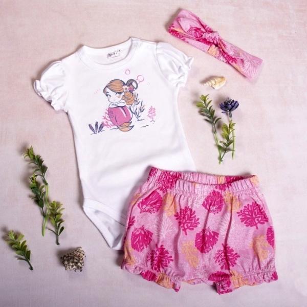 K-Baby 3 dielna súprava, body s kr. rukávom, kraťasky, čelenka, Morská Panna, pink, veľ.86