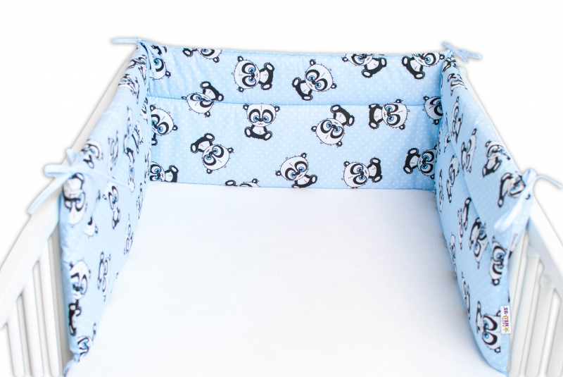 Baby Nellys Mantinel do postieľky 180x30 cm, Panda Mini - modrý