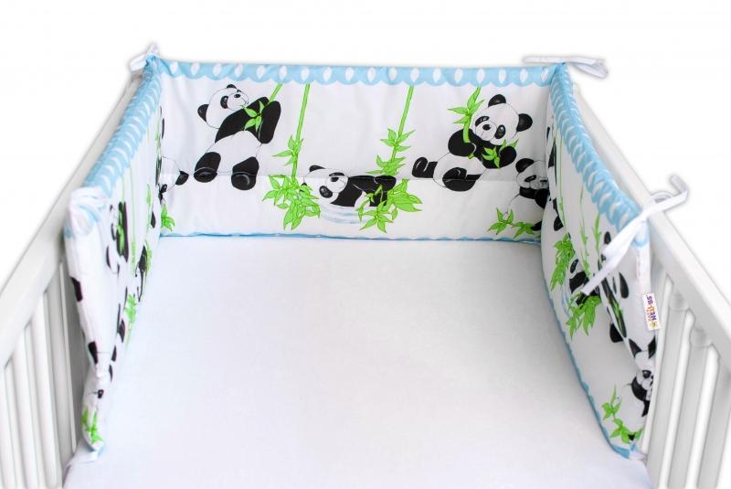 Baby Nellys Mantinel do postieľky 180x30 cm, Panda a Bambus - modrá