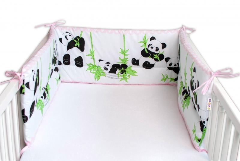 Baby Nellys Mantinel do postieľky 180x30 cm, Panda a Bambus - ružová