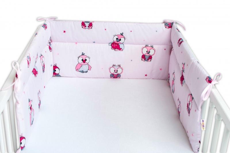 Baby Nellys Mantinel do postieľky 180x30 cm, Malé Sovičky - ružové