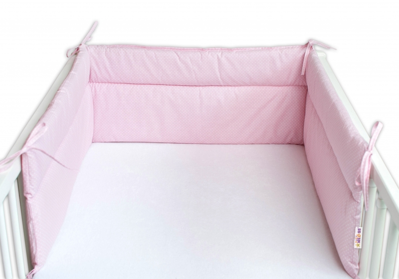 Baby Nellys Mantinel do postieľky 180x30 cm, Bodky biele - ružový
