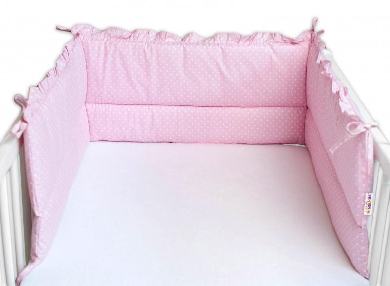 Baby Nellys Mantinel do postieľky 180x30 cm, Veľký bodka biela s volánikom - ružový