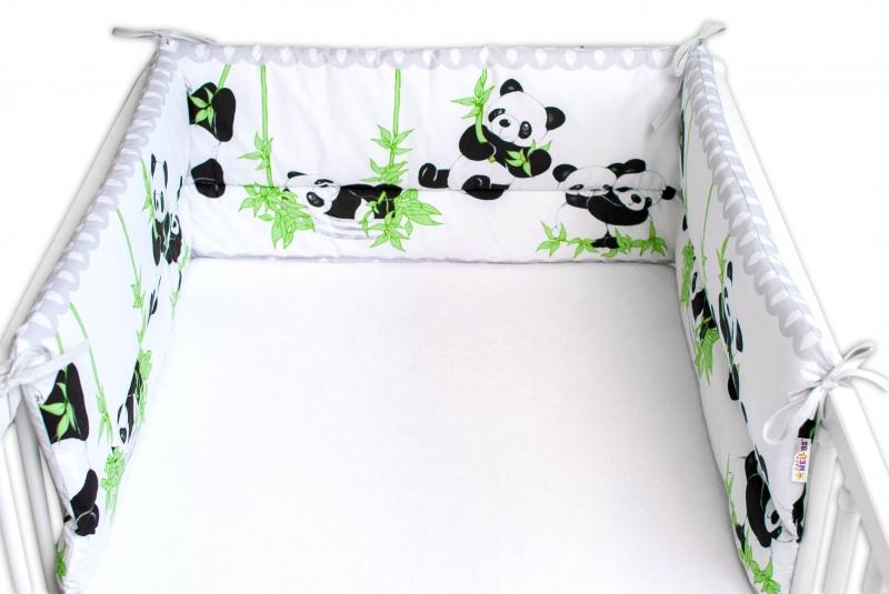 Baby Nellys Mantinel do postieľky 180x30 cm, Panda a Bambus - sivý