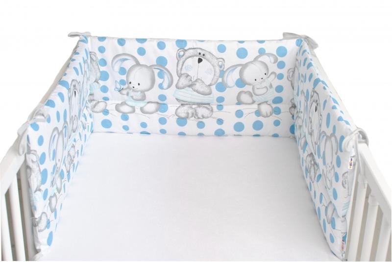 Baby Nellys Mantinel do postieľky 180x30 cm, Medvedík s zajačikov Bubble - biely