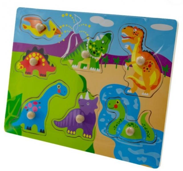 Tulimi Drevené zábavné puzzle vkladacie - Dinosaury