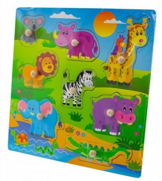 Tulimi Drevené zábavné puzzle vkladacie - Safari velké