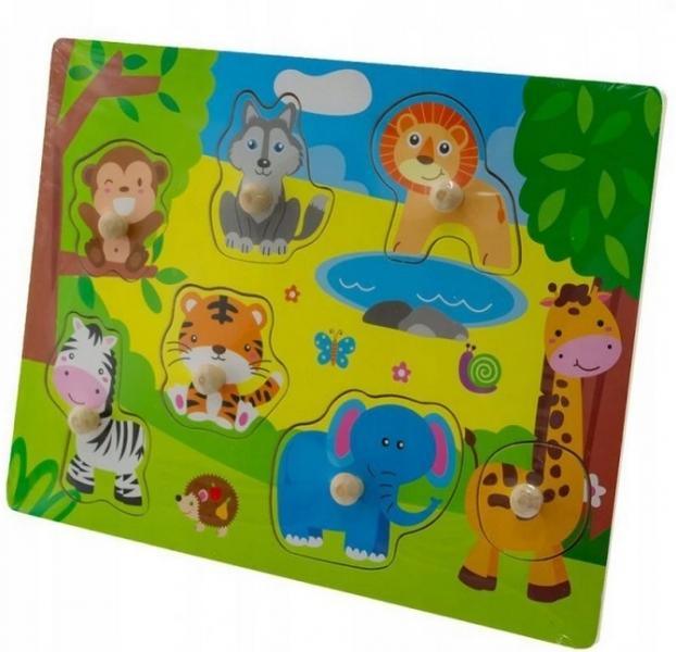 Tulimi Drevené zábavné puzzle vkladacie - Zoo malé
