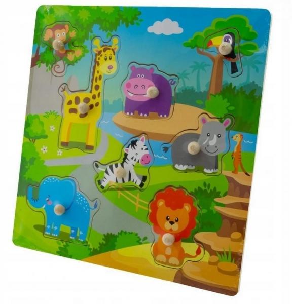Tulimi Drevené zábavné puzzle vkladacie - Zoo velké