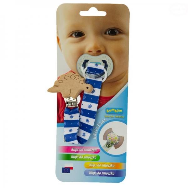Bambino Klip na cumlík drevený s tvary- chlapčenský vzor