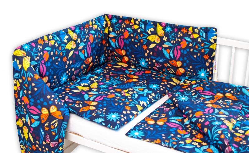 Baby Nellys 3-dielna sada Mantinel s obliečkami - Motýlí lúka, granát, 135x100