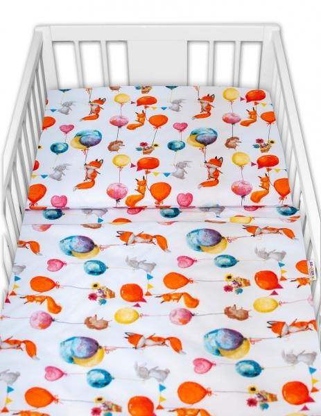 Baby Nellys 2 - dielne bavlnené obliečky - Liška a balóniky, biela