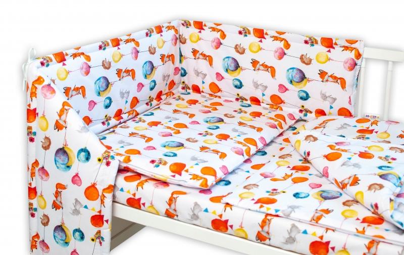 Baby Nellys 3-dielna sada Mantinel s obliečkami - Liška a balóniky, biela, 135x100