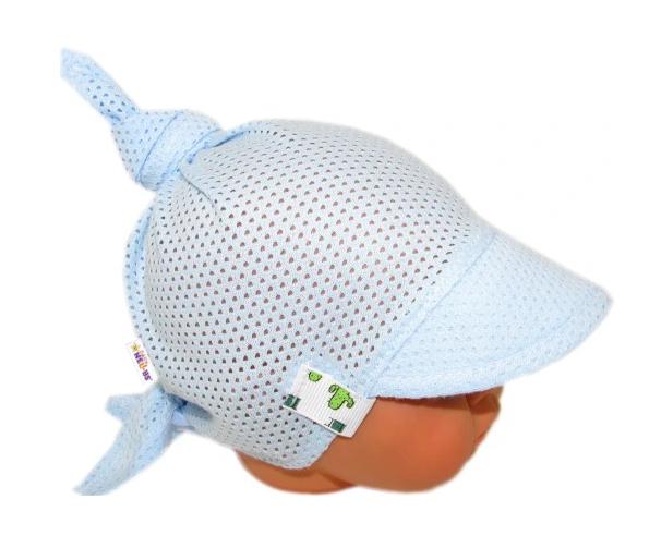 Baby Nellys Detský sieťkovaný šatok so šiltom na zaväzovanie, kaktus - sv. modrý-#Velikost koj. oblečení;68-86 (6-18m)