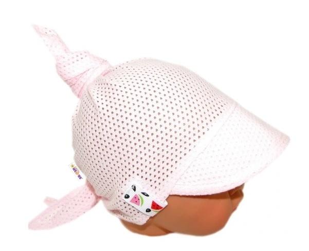 Baby Nellys Detský sieťkovaný šatok so šiltom na zaväzovanie, melón - sv. růžová