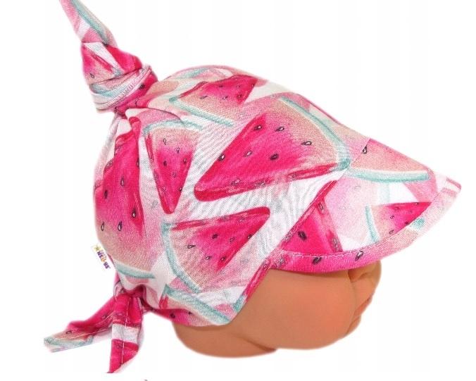 Baby Nellys Detský sieťkovaný šatok so šiltom na zaväzovanie, melón - růžová