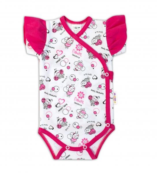 Baby Nellys Body Kr. rukáv s volánikom, zap. bokom - Beruška so vzorom biela / ružová