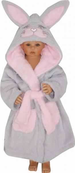 Z&Z Luxusný chlupáčkový župan s kapucňou a opaskom, Zajíček - ružový