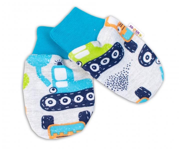 Baby Nellys Dojčenské rukavičky Bager - sivé-#Velikost koj. oblečení;56-62 (0-3m)