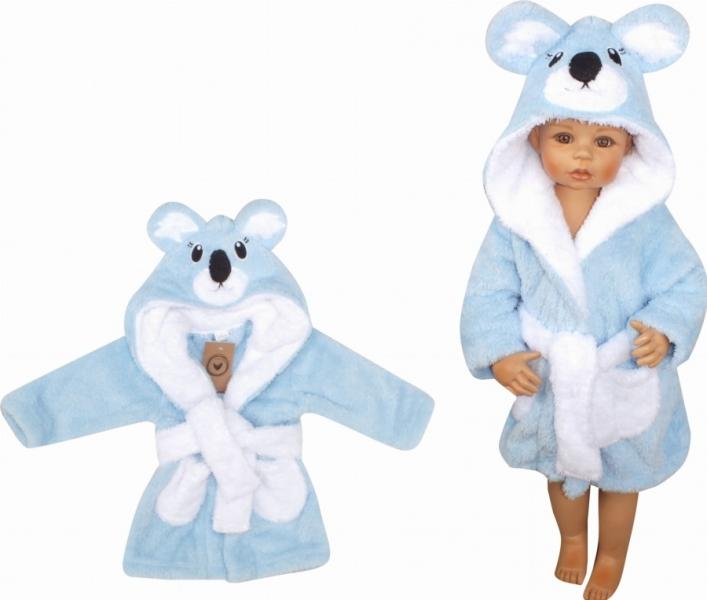 Z&Z Luxusný chlupáčkový župan s kapucňou a opaskom, Koala - modrá, veľ. 92