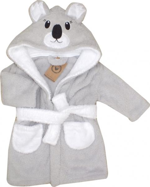 Z&Z Luxusný chlupáčkový župan s kapucňou a opaskom, Koala - sivá, veľ. 92