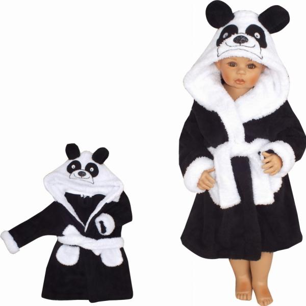 Z&Z Luxusný chlupáčkový župan s kapucňou a opaskom, Panda - čierna, veľ. 92