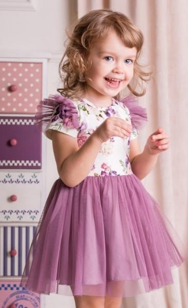 G-baby Letné šaty Kvety s tylom - lila