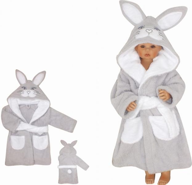 Z&Z Luxusný chlupáčkový župan s kapucňou a opaskom, Zajíček - sivý
