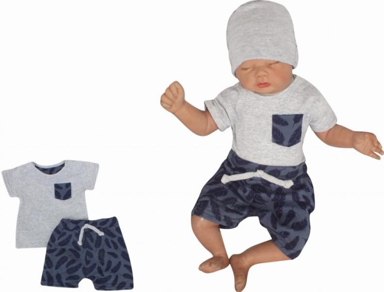 Z&Z 2-dielna sada tričko kr. rukáv, kraťasky s povrázkom Pierka - granát, sivá, veľ. 68