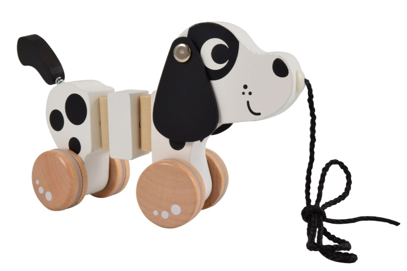 Magni Edukačná drevená ťahacie hračka Psík, Dalmatin