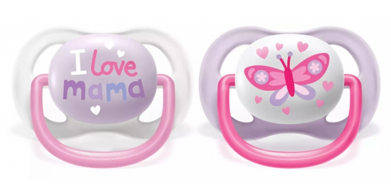 AVENT Cumlík Ultra Air Happy I Love mama, 0-6m - Motýlik, lila