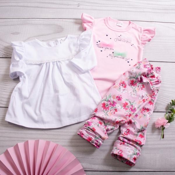 K-Baby 3 dielna sada - body s volánikom, tunika a legíny s kvetmi - ružová, veľ. 68